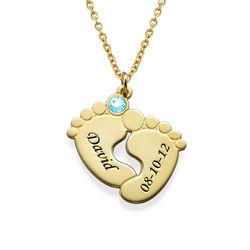 Personligt halsband med babyfötter - guldpläterat product photo