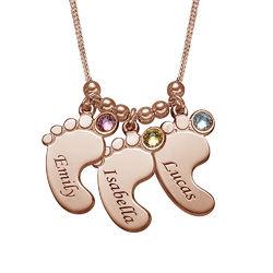 Mammasmycken - Halsband med babyfötter i 18 karat roséguldplätering produktbilder