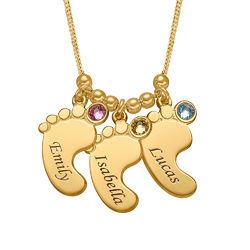 Mammahalsband med babyfötter i Guld Vermeil produktbilder