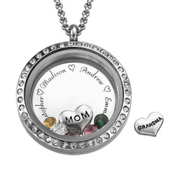 Graverad flytande berlock i silver - till alla mammor produktbilder