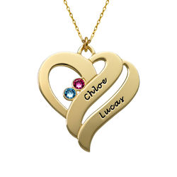 Två hjärtan för evigt - halsband i 10k guld produktbilder