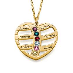 Guld pläterat hjärta med månadsstenar och gravyr produktbilder