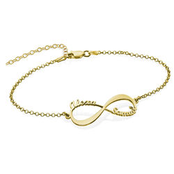 Infinityarmband med namn - guldpläterat product photo