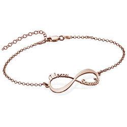 Infinity-armband med namn - roséguldplätering produktbilder