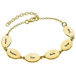 Mamma armband med barnens namn i Guld Vermeil - Oval design produktbilder