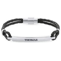 ID-armband för män i rostfritt stål och svart läder product photo