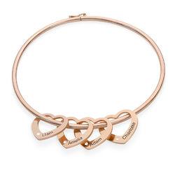 Bangle Armband med Hjärtberlocker i Roséguldplätering med Diamanter produktbilder