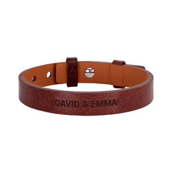 Herrarnas Total Brown Leather Name Armband produktbilder