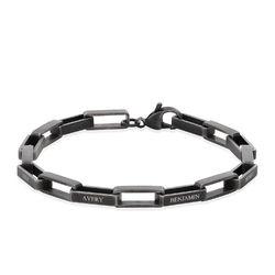 Anpassat fyrkantigt armband för män i silveroxid produktbilder