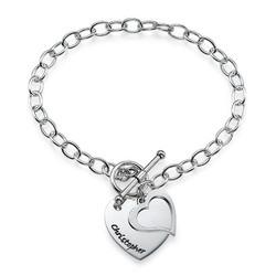 Dubbelt Berlock Hjärt Armband i Silver produktbilder
