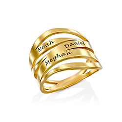 Margeaux Personlig Ring med Gravyr i Guld Vermeil produktbilder