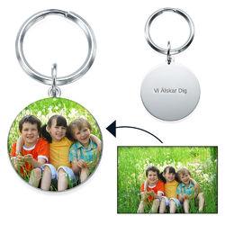 Graverad Nyckelring med Foto - Rund form produktbilder