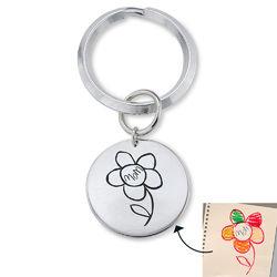 Personlig nyckelring med bricka med barnteckningar produktbilder