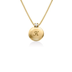 Cirkel Bokstavshalsband med Diamant i 18K Guld Vermeil produktbilder