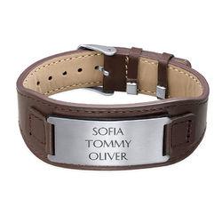 Manligt ID-armband i brunt läder produktbilder