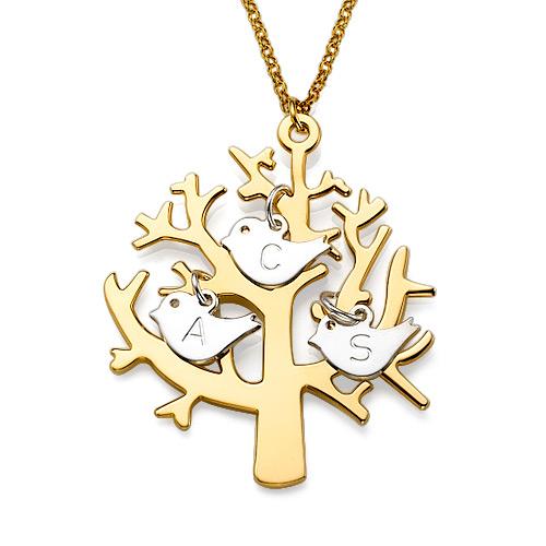 18K Guldpläterat Träd Halsband med Sterling Silver Initial Fåglar