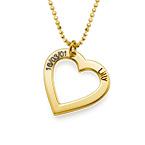 18k Guldpläterat Silver-Hjärta med Ingravering