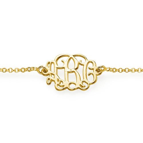 18k Guldpläterat Sterling Silver Monogram Armband eller Fotlänk - 1