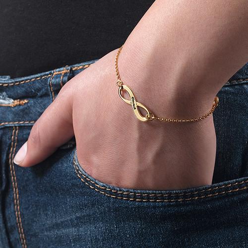 18k Guldpläterat Graverat Infinity Armband - 2