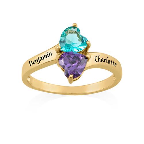 18k Guldpläterad Personlig Ring med Swarovskistenar - 1