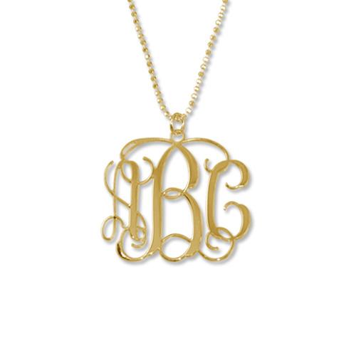 18k Guldpläterat Sterling Silver Monogram Halsband  7219623270e39