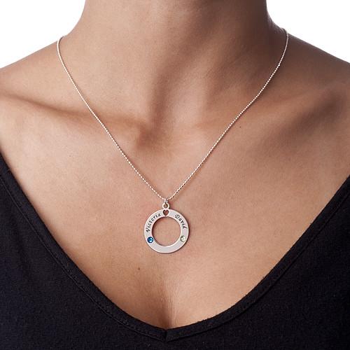Sterling Silver Cirkelhänge med Swarovski-månadsstenar - 1