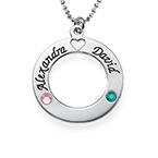 Sterling Silver Cirkelhänge med Swarovski-månadsstenar