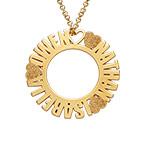 Cirkelhalsband med namn i guldplätering med diamanteffekt