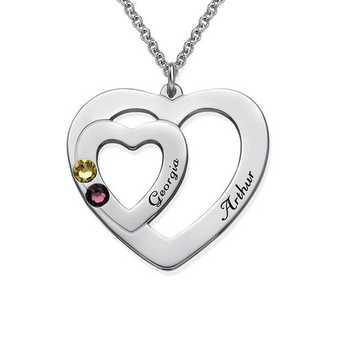 Dubbelhjärta halsband med månadsstenar