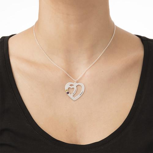 Dubbelhjärta halsband med månadsstenar - 2
