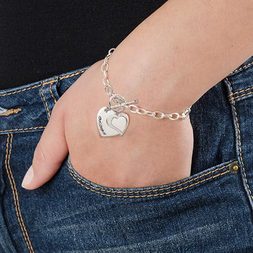 Dubbelt Berlock Hjärt  Armband i Silver - 2