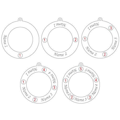 Familje Cirkel halsband med månadsstenar - 1