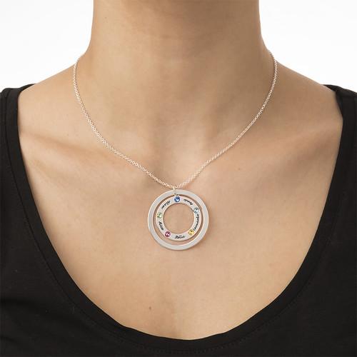 Familje Cirkel halsband med månadsstenar - 3