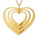 Familjehalsband med hjärta i guldplätering