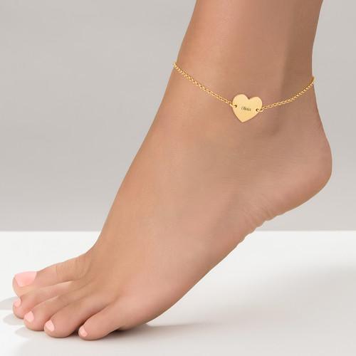 Fotlänk med hjärta i guldplätering - 1