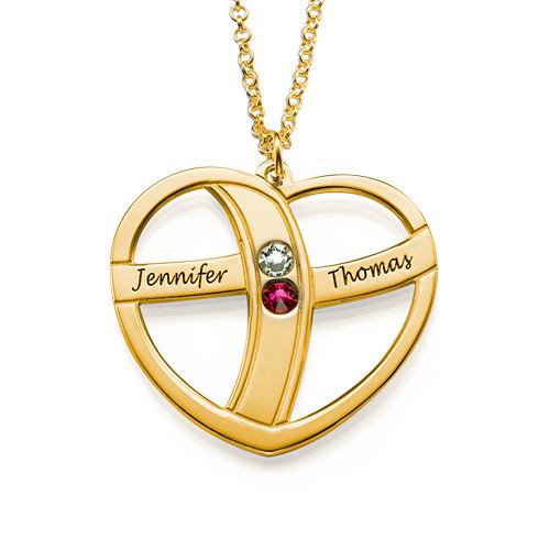 Guld pläterat hjärta med månadsstenar och gravyr - 1