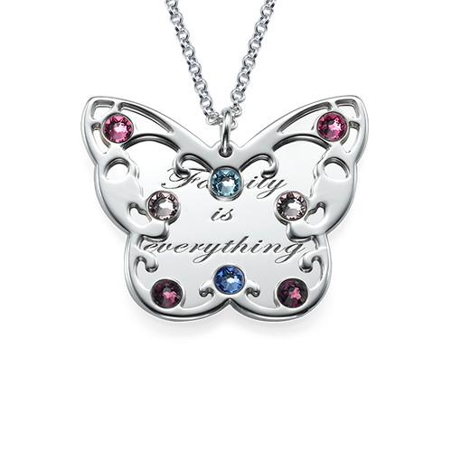Graverad Fjärils Halsband för Mammor med månadsstenar
