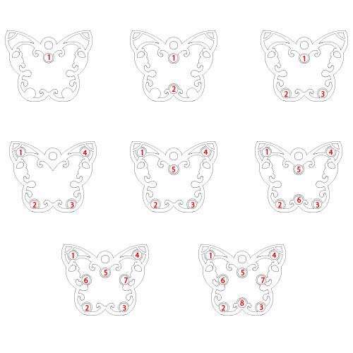 Graverad Fjärils Halsband för Mammor med månadsstenar - 2
