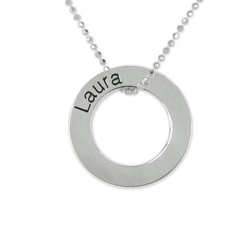 Graverat Cirkel Halsband i Silver