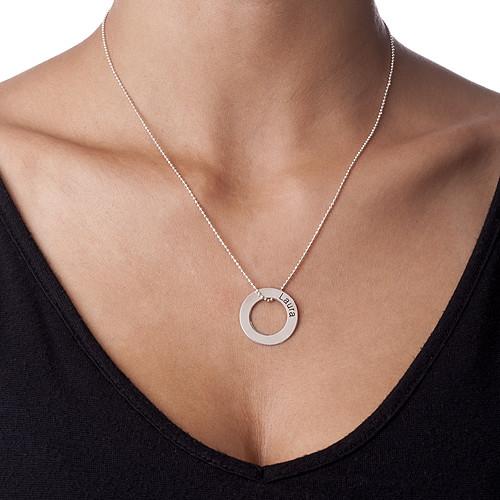 Graverat Cirkel Halsband i Silver - 1