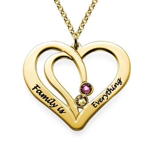 Graverat Halsband med Månadsstenar för Par med Guld Plätering - 1