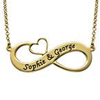 Graverat Infinity halsband med utskuret hjärta med guldplätering 86df39c9f4944