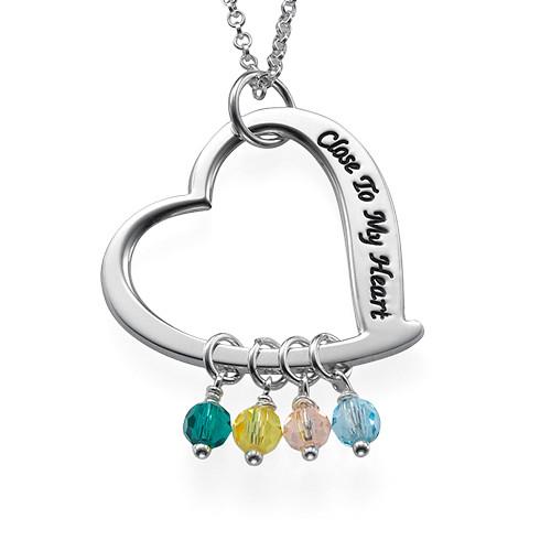Graverat hjärtsmycke halsband med månadsstenar