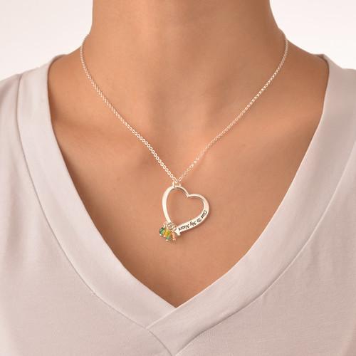 Graverat hjärtsmycke halsband med månadsstenar - 2