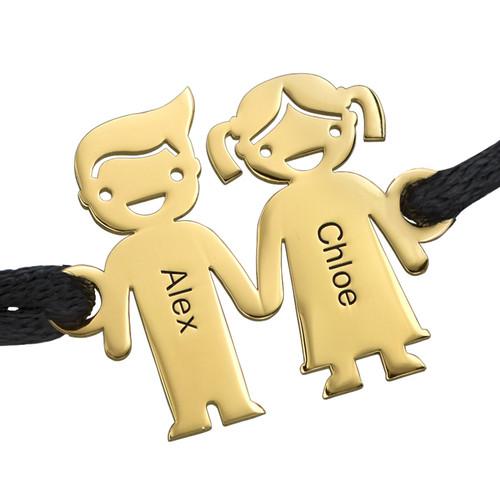 Guldpläterate Barn Håller hand Berlock Armband - 1