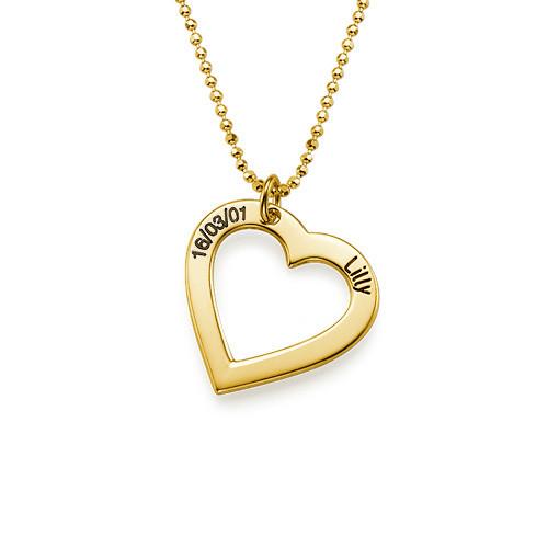 18k Guldpläterat Hjärta med Ingravering