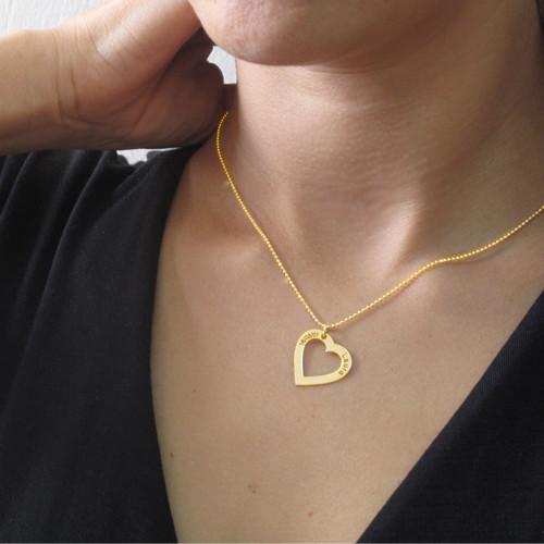 18k Guldpläterat Hjärta med Ingravering - 2