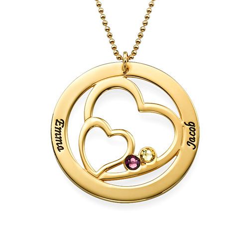 Guldpläterad Hjärta i Hjärta med Månadsstenar - 1