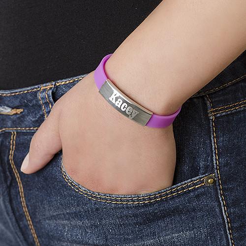 Silikon Armband med Personligt Tillverkad Spänne av Rostfritt Stål - 2