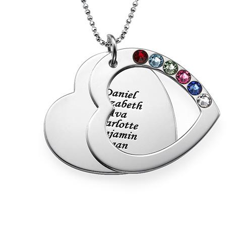 Halsband med Familjehjärta och månadsstenar - 1